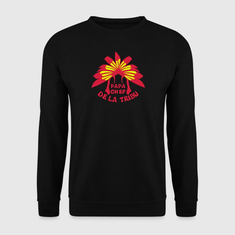 papa chef tribu coiffe indienne - Sweat-shirt Homme