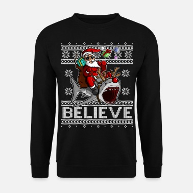BELIEVE - Santa Claus riding Shark - Männer Pullover