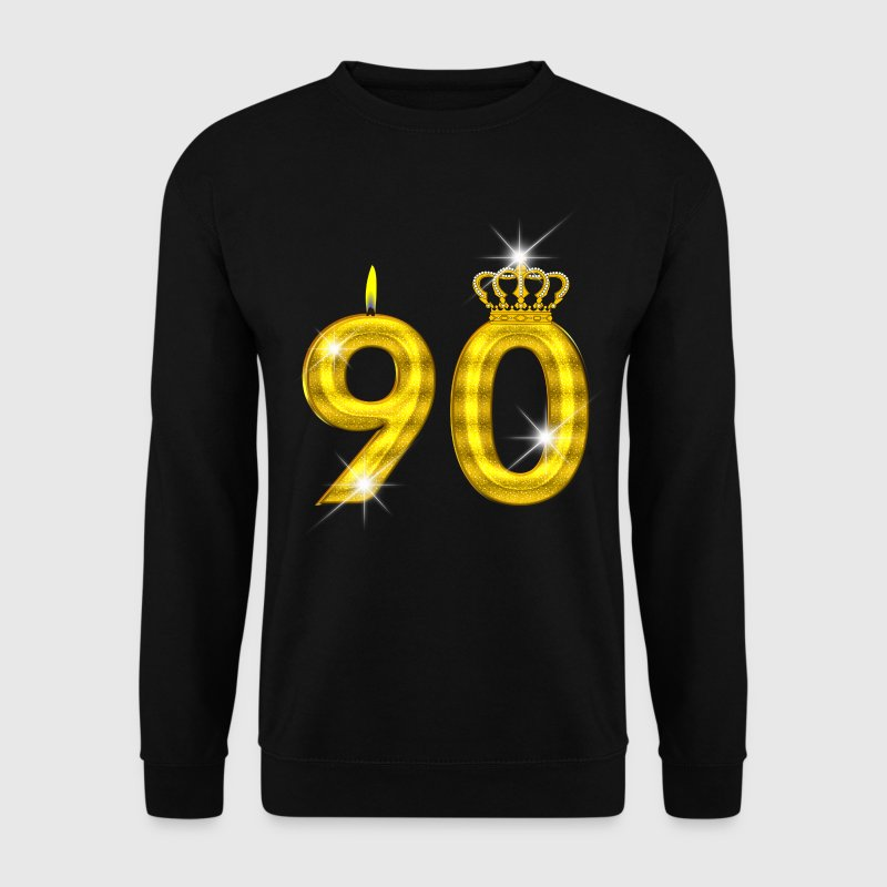 90 verjaardag - Crown - kaars - goud - Mannen sweater