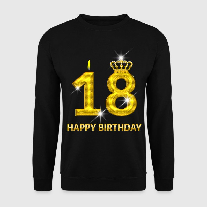18-happy birthday - verjaardag - nummer goud - Mannen sweater