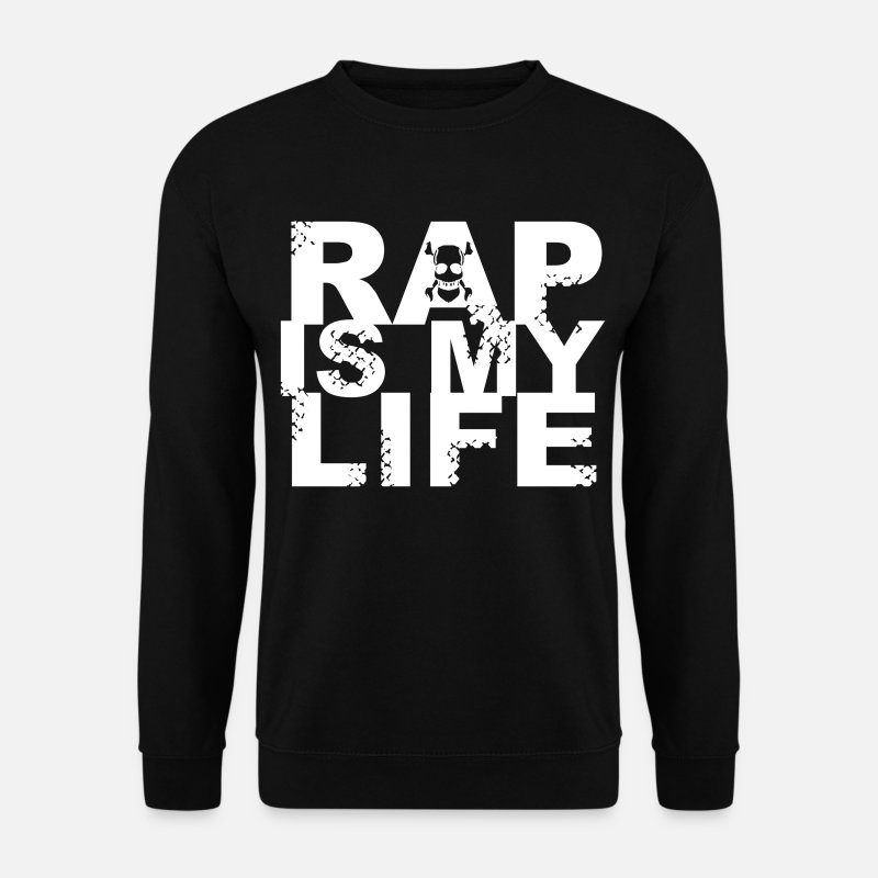 Rap Sudaderas - rap is my life - Sudadera hombre negro 11169c6554d