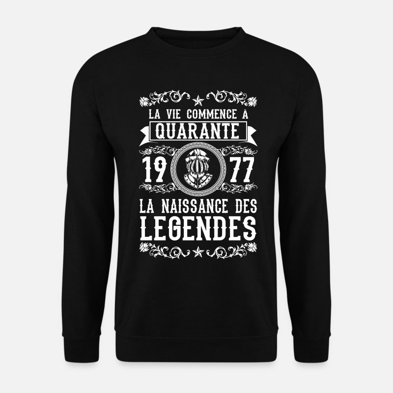 40 Ans Sweat-shirts - 1977 - 40 ans - Légendes - 2017 - Sweat-shirt Homme noir
