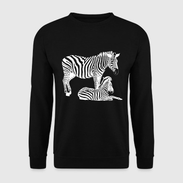 Foal Safari zebra with a foal - Men's Sweatshirt