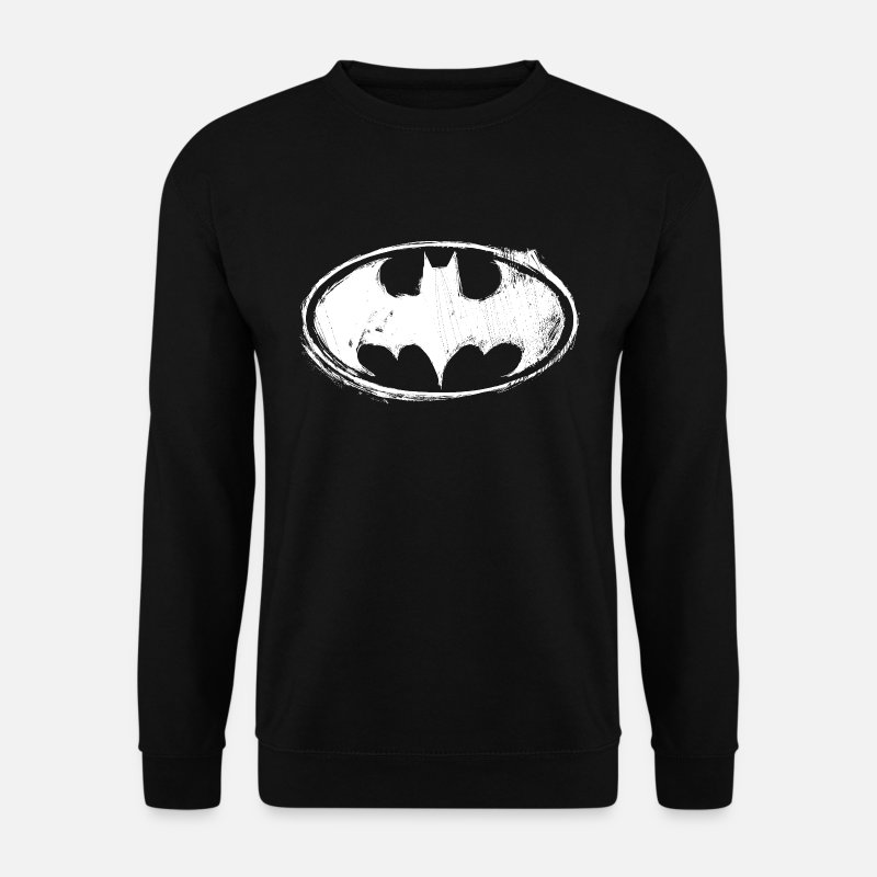 Héros Sweat-shirts - Batman logo blanc craie homme Sweat-shirt - Sweat-shirt Homme noir
