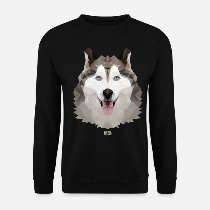 Husky Hoodies & Sweatshirts - Animal Planet Dogs Husky Geometric Pattern - Men's Sweatshirt black