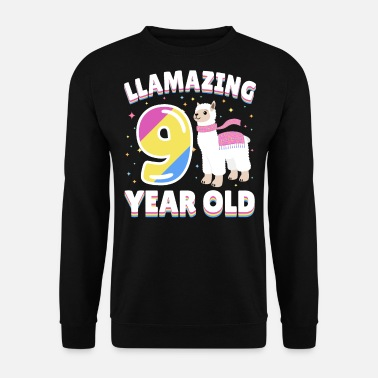 Llamazing 9th Birthday 9 Year Old Llama Present - Men's Sweatshirt