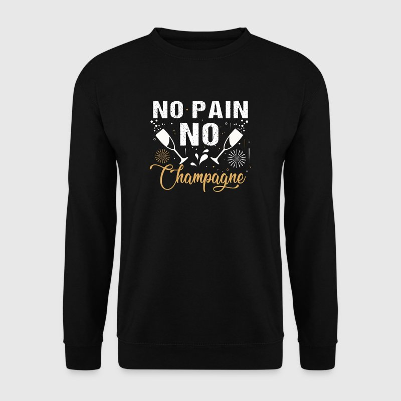 No Pain No Champagne - fun drinking party gift  - Mannen sweater
