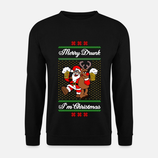 Christmas Hoodies & Sweatshirts - Merry Drunk I´m Christmas Ugly Xmas Sweater Funny - Men's Sweatshirt black