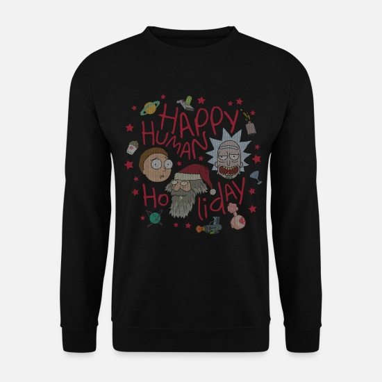 Ugly Christmas Pullover & Hoodies - Rick and Morty Happy Human Holiday Sweater - Männer Pullover Schwarz