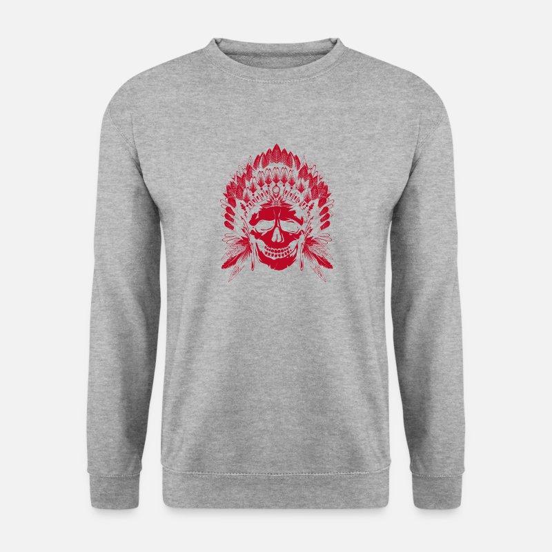 Rouge Spreadshirt Crâne Chef Shirt Motif Homme Sweat Indien Znqtw0qrzB