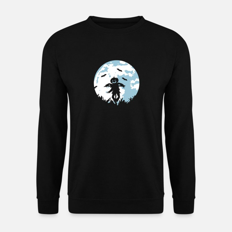 Bats Hoodies & Sweatshirts - A pumpkin scarecrow in the cornfield and Moon - Men's Sweatshirt black