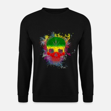Splatter Reggae Rasta Skull Paint Splatter Art - Men's Sweatshirt