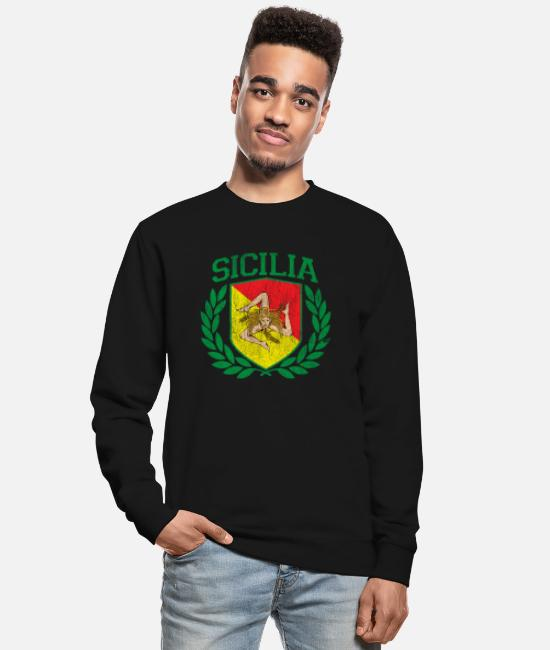 Proud Hoodies & Sweatshirts - SICILY - Sicilia Flag and Shield Trinacria - - Unisex Sweatshirt black