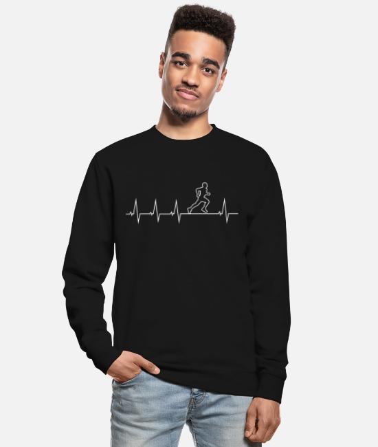 Heart Hoodies & Sweatshirts - I love running - heartbeat - Unisex Sweatshirt black