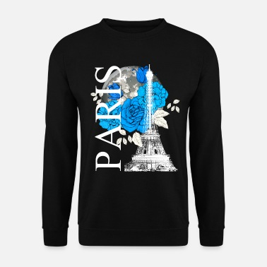Metropolis Paris Eiffel Tower full moon flowers travel - Unisex Sweatshirt