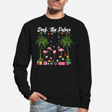 Grappig Christmas Deck The Palms Pink Flamingo's Holiday - Unisex sweater