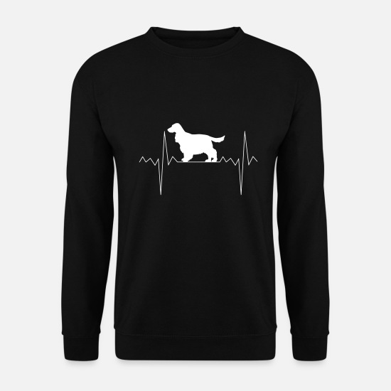 Spaniel Hoodies & Sweatshirts - Heartbeat heart rate Cocker Spaniel - Men's Sweatshirt black