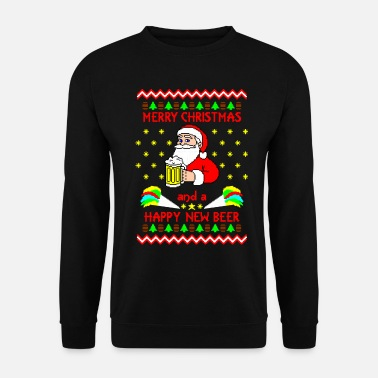 Weihnachtsmann Merry Xmas Happy new Beer Ugly Christmas Sweater - Unisex Pullover
