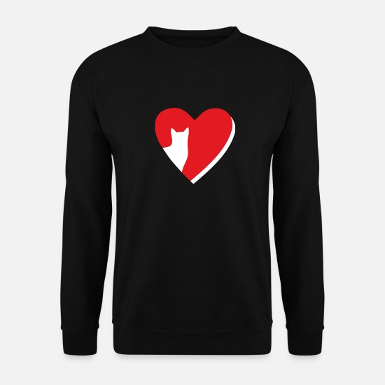 Love Hoodies & Sweatshirts - Heart with cat cat silhouette - Men's Sweatshirt black