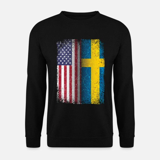 Hometown Hoodies & Sweatshirts - Flag of Sweden and USA pride homeland - Men's Sweatshirt black