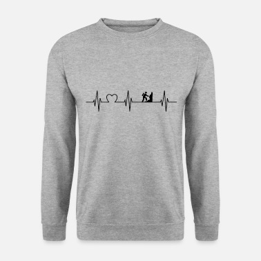 Geocaching Heartbeat mountains climbing hiking nature gift - Men's Sweatshirt