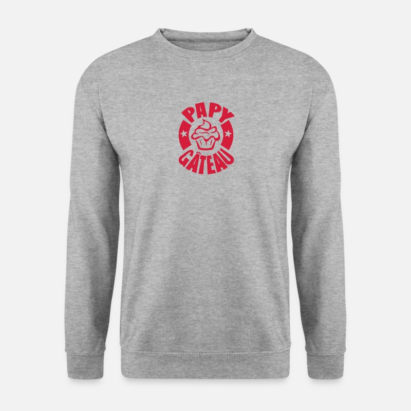 Papy Sweat-shirts - papy gateau logo 1 - Sweat-shirt Homme gris chiné