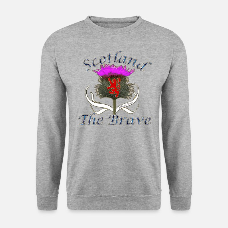 Scottish Hoodies & Sweatshirts - scotland the brave thistle lion design - Men's Sweatshirt salt & pepper