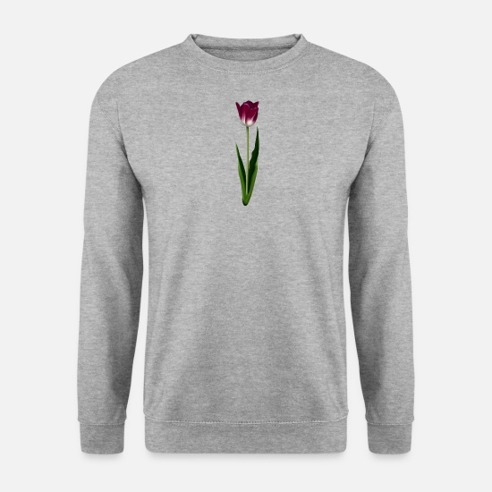 Fleur Sweat-shirts - tulipe violette - Sweat-shirt Homme gris chiné