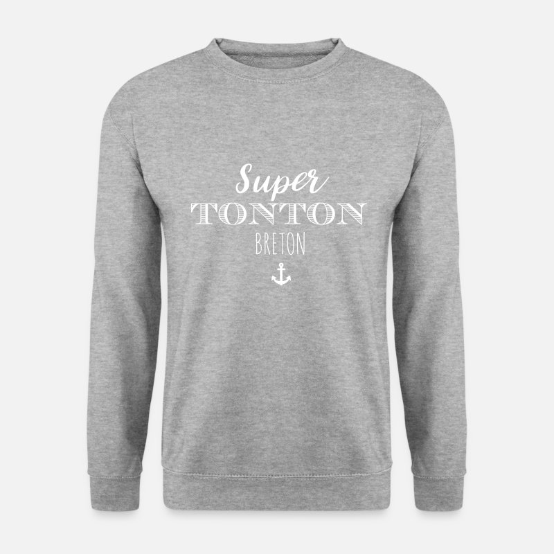 Bretagne Sweat-shirts - Super Tonton Breton - Sweat-shirt Homme gris chiné