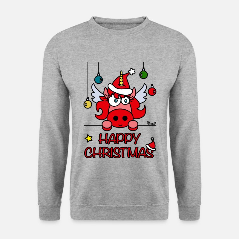 Noel Sweat-shirts - Unicorn Happy Christmas, Licorne Noël - Sweat-shirt Homme gris chiné