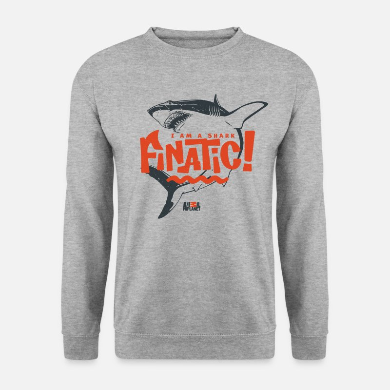 Humour Hoodies & Sweatshirts - Animal Planet Ocean Humour Shark Finatic - Men's Sweatshirt salt & pepper