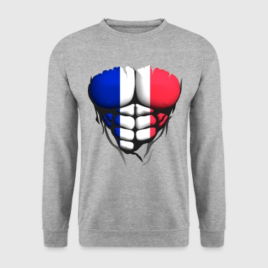 french flag torso body muscle abdos - Men's Sweatshirt
