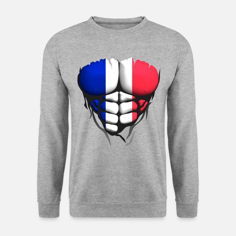 Muscle Sweat-shirts - francais drapeau torse corps muscle abdo - Sweat-shirt Homme gris chiné