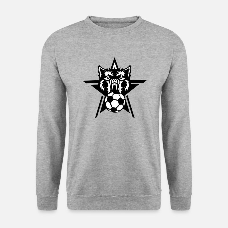 Logo Sweat-shirts - soccer loup garou wolf logo foot sport - Sweat-shirt Homme gris chiné