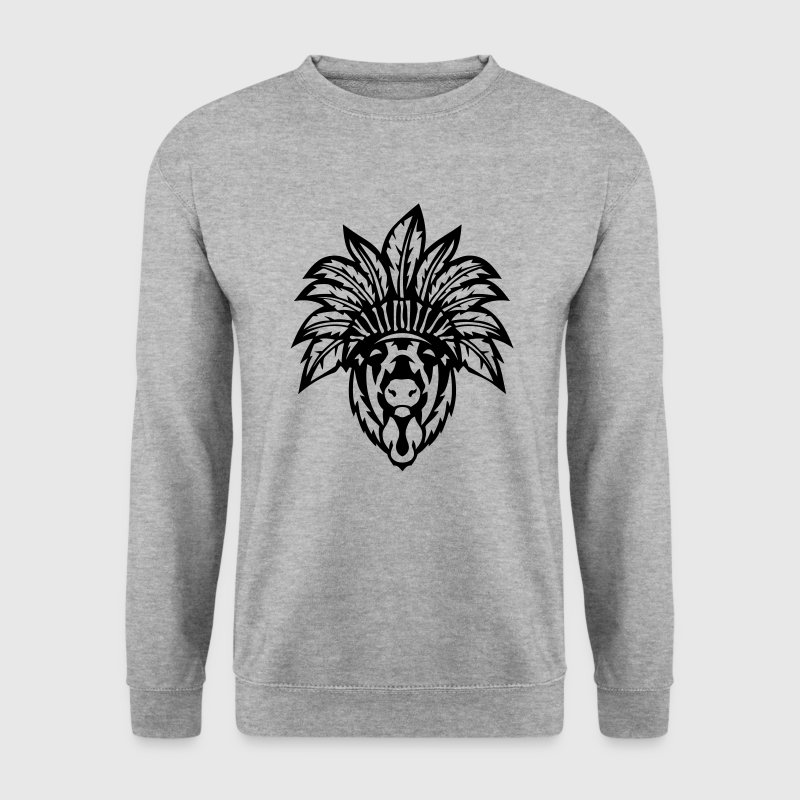 bison tete coiffe indienne indien 0 - Sweat-shirt Homme