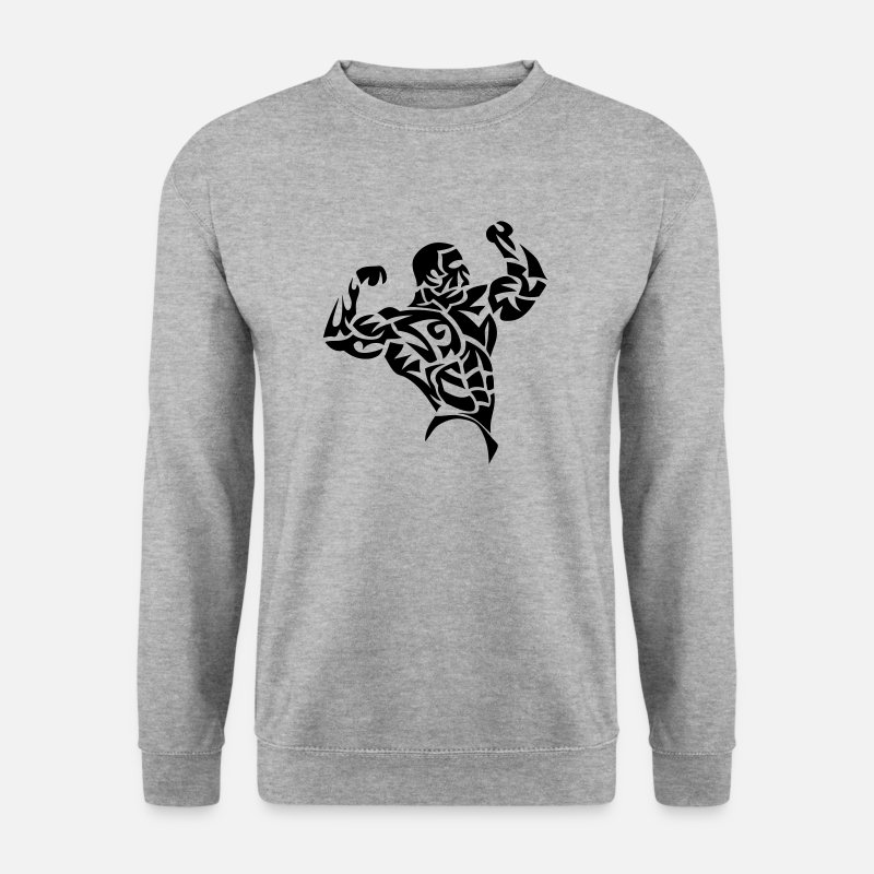 Body Builder Hoodies & Sweatshirts - bodybuilder musculation muscu tribal 3 - Men's Sweatshirt salt & pepper