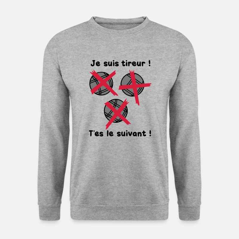 Pétanque Sweat-shirts - petanque tireur boule suivant2 - Sweat-shirt Homme gris chiné