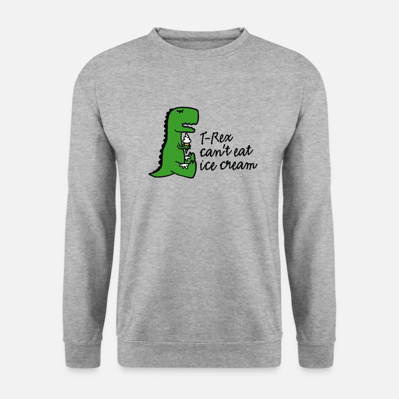 Rex Sweat-shirts - T-rex can't eat ice cream - Sweat-shirt Homme gris chiné