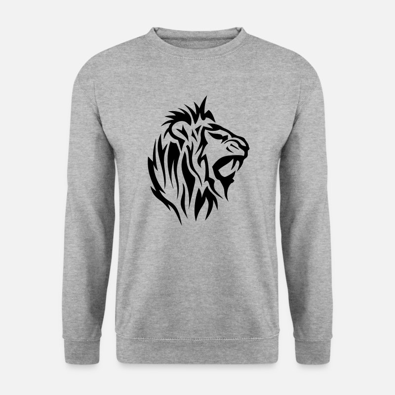 Tatouage Tribal Sweat-shirts - lion tribal tatouage dessin 14025 - Sweat-shirt Homme gris chiné