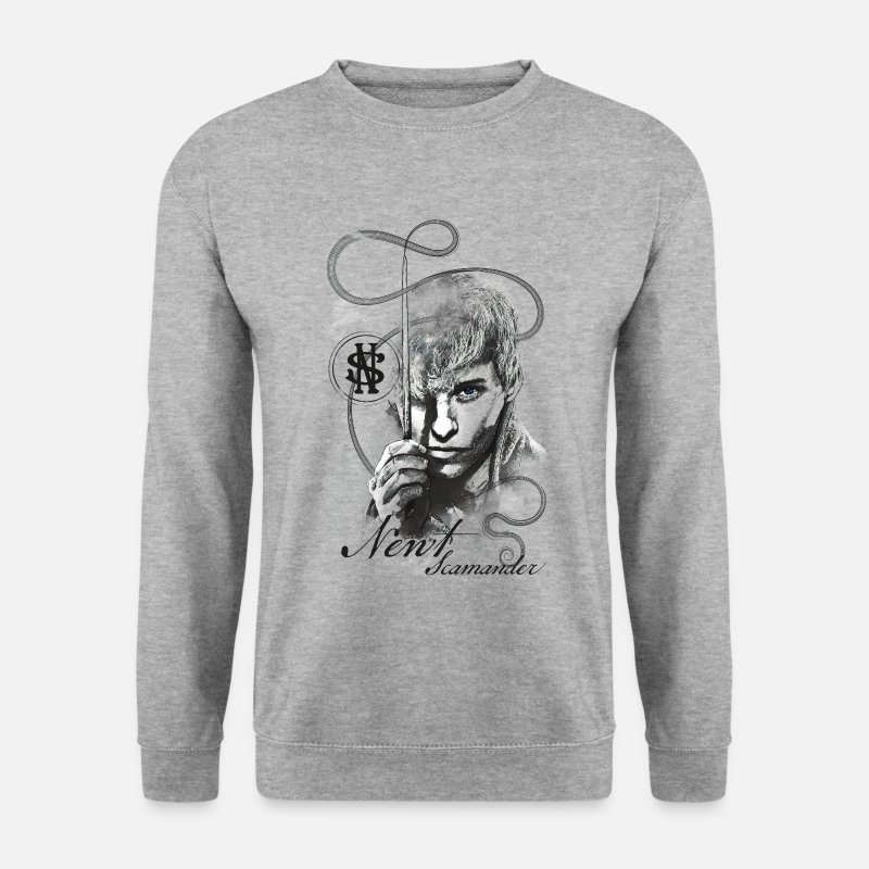 World Sweaters - Fantastic Beasts Newt Drawing - Mannen sweater witgrijs gemêleerd