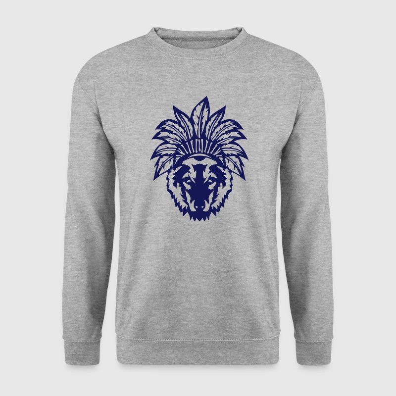 loup tete coiffe indienne indien 0 - Sweat-shirt Homme