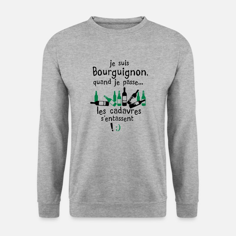 Bourguignons Sweat-shirts - bourguignon cadavre entasse alcool - Sweat-shirt Homme gris chiné