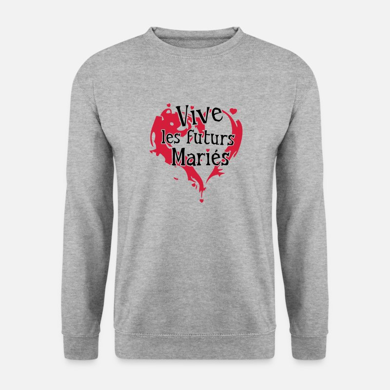 Vive Les Maries Sweat-shirts - vive futurs maries mariage coeur love1 - Sweat-shirt Homme gris chiné