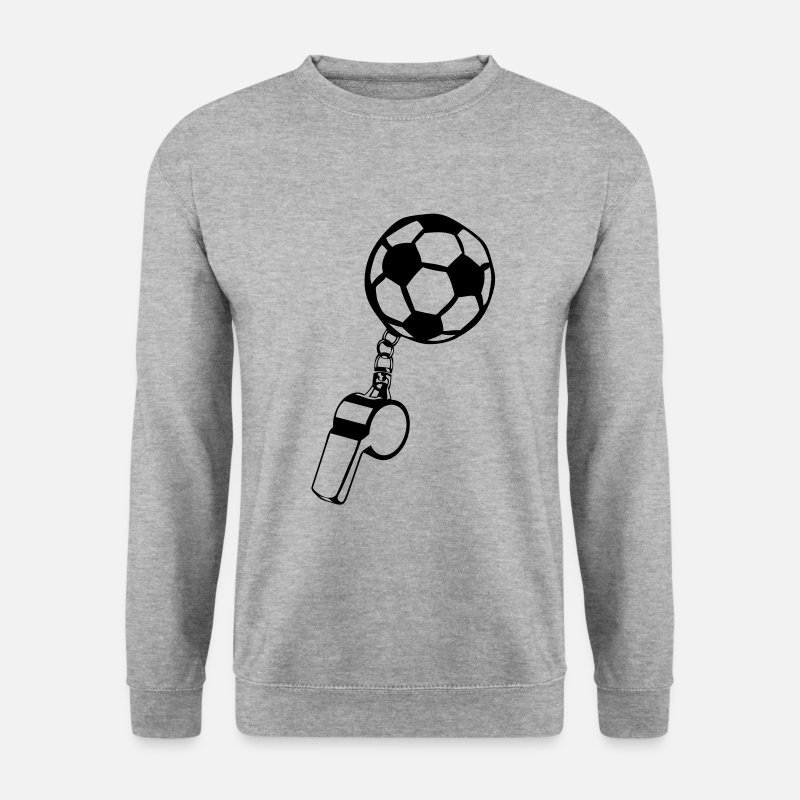 Ballon Sweat-shirts - foot sifflet arbitre sport ballon soccer - Sweat-shirt Homme gris chiné