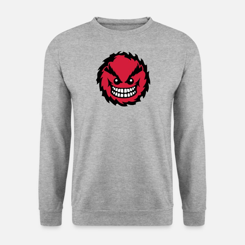 Dent Sweat-shirts - smiley feroce mechant dent 27 - Sweat-shirt Homme gris chiné