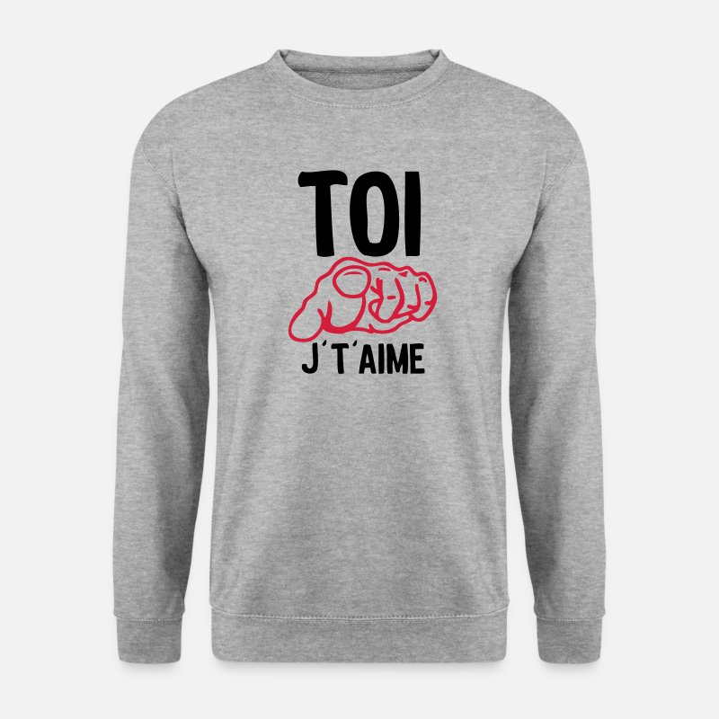 Humour Sweat-shirts - toi doigt aime - Sweat-shirt Homme gris chiné