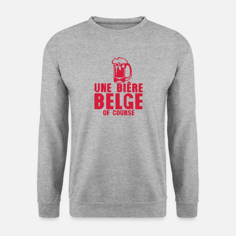 Belge Sweat-shirts - biere belge of course verre alcool - Sweat-shirt Homme gris chiné