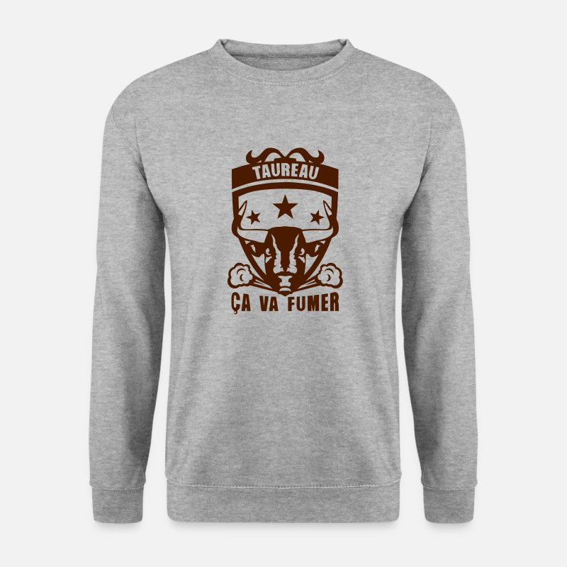 Taureau Sweat-shirts - taureau signe astrologique fumer logo - Sweat-shirt Homme gris chiné