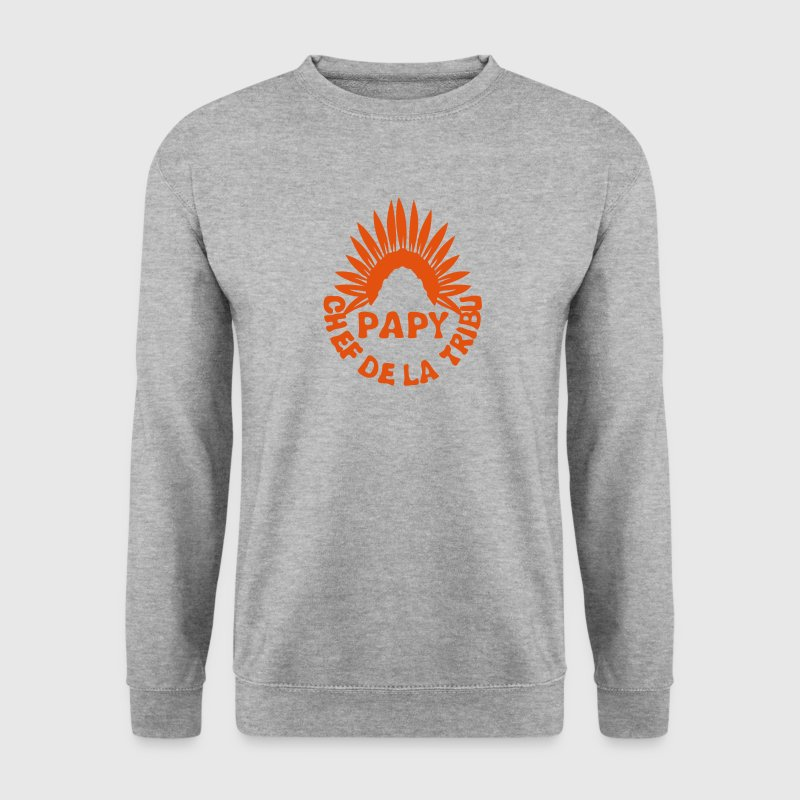 papy chef tribu coiffe indien 0 - Sweat-shirt Homme