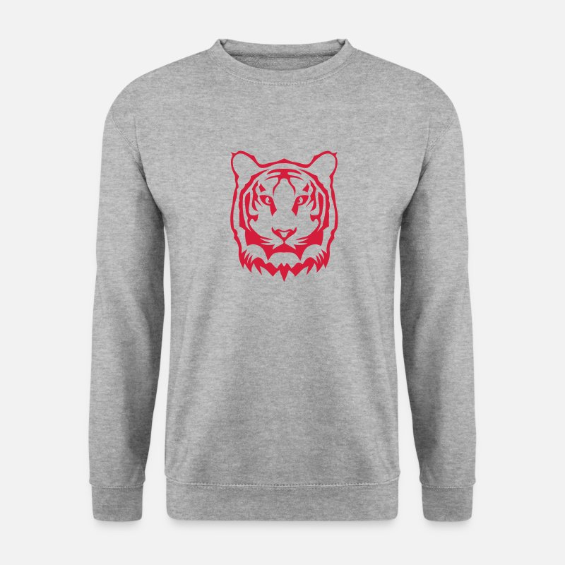 Tigre Sweat-shirts - tigre tete 2503 - Sweat-shirt Homme gris chiné